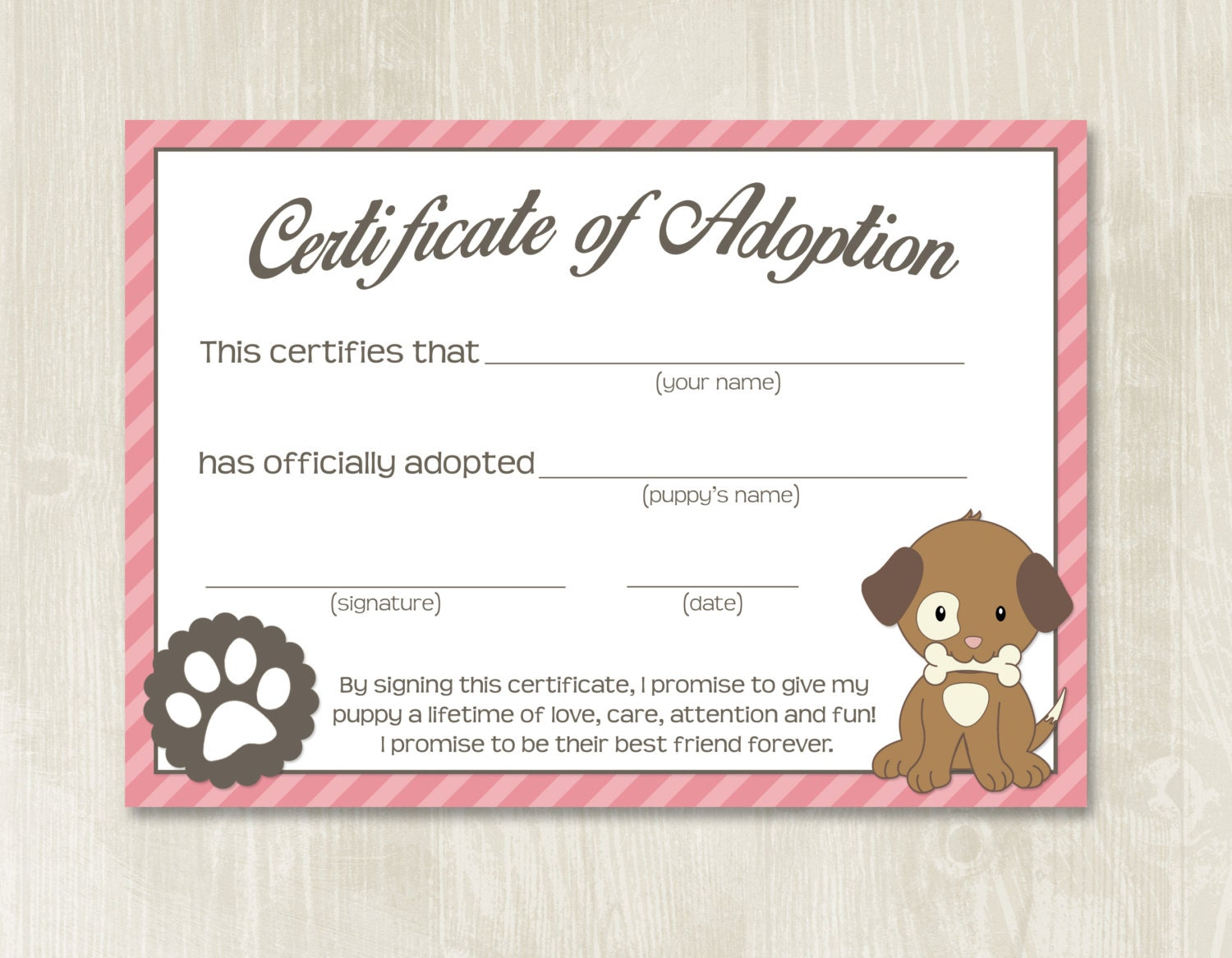 It is a graphic of Fan Printable Adoption Certificate