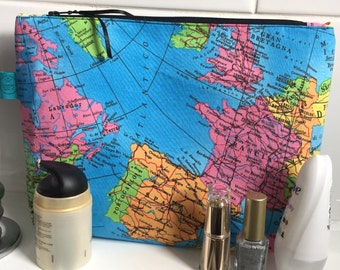 Map cosmetic bag etsy map large make up bag world map toiletry bag big cosmetic bag alternative makeup bag atlas travel gift teen gift gift for her wash gumiabroncs Image collections