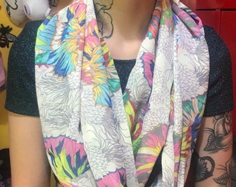 Butterfly scarf, sheer scarf, pretty infinity scarf, alternative mum, butterflies cowl, cream fabric, alternative, unique, gift for her
