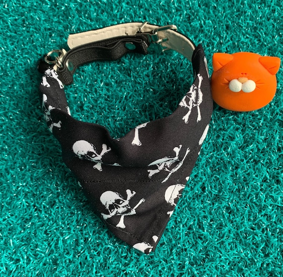 skull n crossbones crazy cat lady slides over collar Pirate cat bandana badass cat gift cat fashion black and white cat bandanna