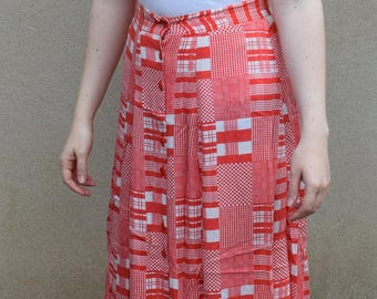 SALE Vintage red and white gingham skirt, 1980s