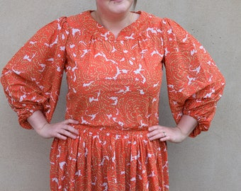 SALE Vintage bright orange paisley midi day dress, 1970s