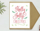 Christmas Card - Holly Jolly Christmas Card, Printable