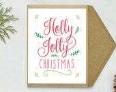 Christmas Card - Holly Jolly Christmas Card, Printable