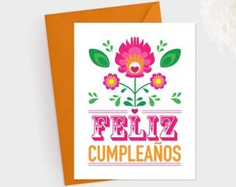 Feliz Cumpleaos Printable Card Fiesta Flowers