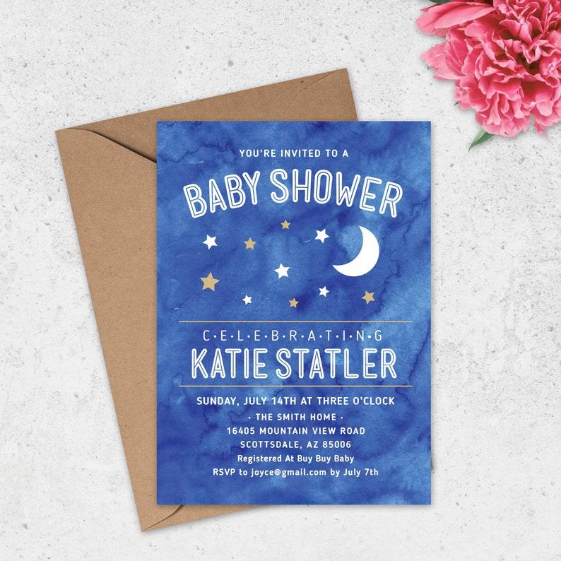 Night Sky Baby Shower Invitation Stars and Moon Baby Shower Invitation Celestial Baby Shower Invitation