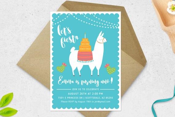 Fiesta Einladung Lama Einladung Lama Geburtstags Einladung