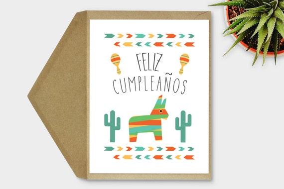 Printable Feliz Cumpleaos Card Spanish Birthday