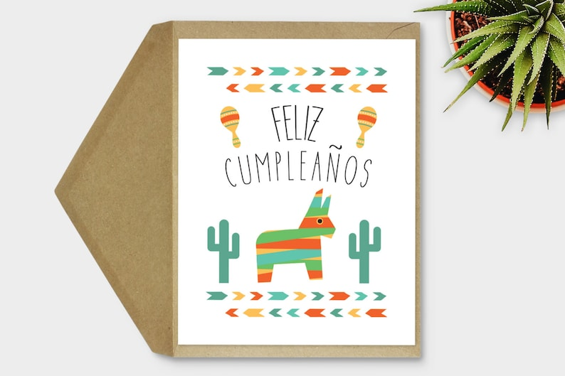 photo regarding Spanish Birthday Cards Printable identified as Printable, Feliz Cumpleaños Card, Spanish Birthday Card, Fiesta Birthday Card, Mexican Birthday Card