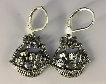 Purim Shalach Manas Earrings - Purim Jewelry - Mishloach Manot -  Purim Gift Basket - Pewter Purim Gifts of Food Earrings - Shalach Manot