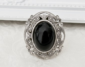 Silver victorian gothic ornate ring-Gothic ring with gem-Adjustable-CHOOSE COLOUR-