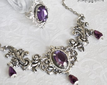 The Queen jewelry set of ring and necklace-Silver and purple jewelry set-Victorian Gothic Jewelry set-Victorian gothic set-ring and necklace