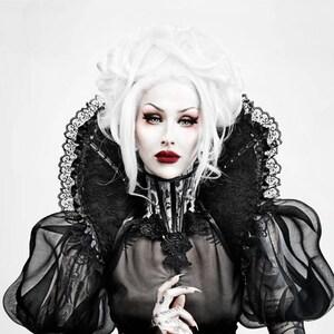 Black gothic Collar Vampire style shoulder piece drag queen costume