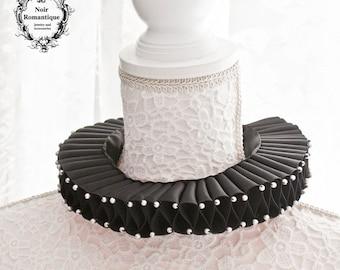 Classic black elizabethan ruff collar-Historical neckpiece-black ruff collar-gothic collar