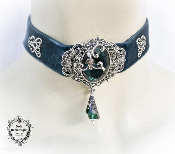 FP Femme Fille Collier Ras de Cou Dentelle Velours Perles Gothique Cadeau Noir