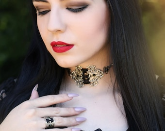 Silver corset jewelry set of choker and ring-corset choker and ring-jewelry set-gothic jewelry set