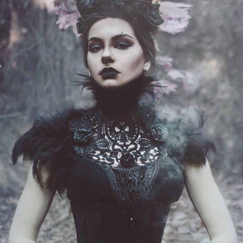 Black roses lace and feather collar-feather neckpiece-feather image 0