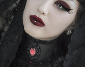 Gothic Black faux leather cameo collar-Gothic collar-Gothic cameo choker-Black choker-Leather choker