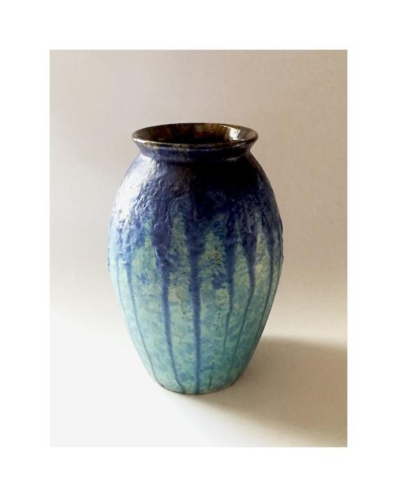 Villeroy And Boch Drip Glaze Large Vase Style 274 Blue Etsy