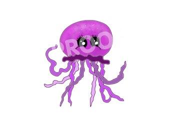 Cute Jellyfish Digital Print