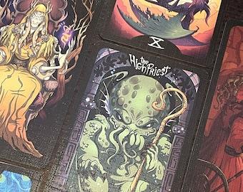 Eldritch Tarot, the Cthulhu Tarot 78 cards by artist Sara Bardi, Lovecraft witchcraft