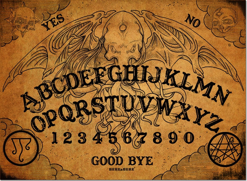 Cthulhu Talking Board with resin planchette Whispers image 0