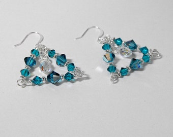 Crystal Angles: Silver and Swarovski Crystal Drop Earrings