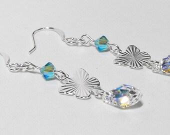 Butterfly Tears: Silver Butterfly Drop Earrings with Light Aqua Swarovski Crystals and Swarovski Crystal Clear Teardrops