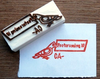 Custom postcrossing stamp, postcrossing ID hand carved stamp, stationary rubber stamp, handmade stamp, card making supplies