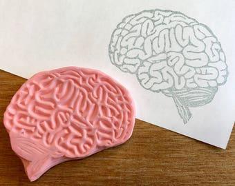 Brain stamp, brain hand carved stamp, brain rubber stamp, handmade stamp, card making supplies