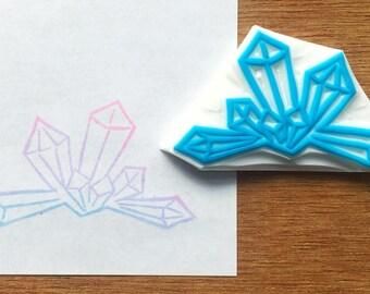 Crystal stamp, geode rubber stamp, gem eraser stamp, crystal cluster stamp, handmade pattern rubber stamp, hand carved stamp