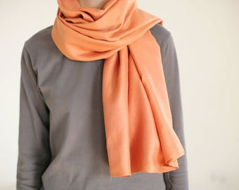 orange silk scarf hand dyed silk scarf orange scarf natural dyed scarf autumn women scarf