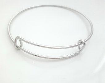 15 - Adjustable Bangle Bracelets, Bulk Bangle Bracelets, Silver Colored Bangles, Wholesale Bangle Bracelets, Expandable Bangle Bracelets