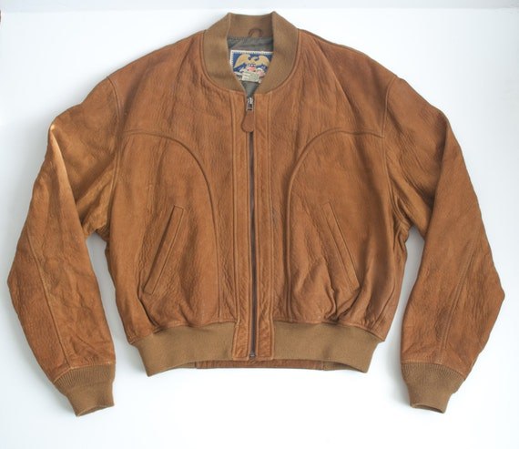 LEATHER avirex brown MILITARY bomber FLIGHT zip up