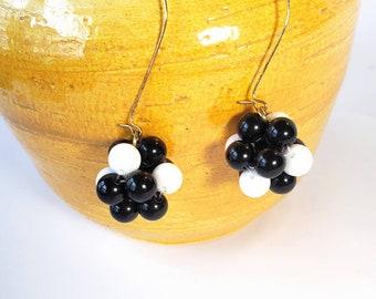 FUN Vintage Dangle Beaded Earrings-GoldBrass-Black-Copper-Stones-Unusual-Long-Retro-All Orders Only 99c Shipping!