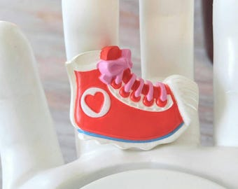 f8474e9da28d66 FUN SNEAKER Brooch-Tennis Shoe-Signed Hallmark 1985 Vintage-Red