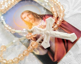VINTAGE Hand Held Rosary-Plastic White Crucifix and Light Pink/Peach and Clear Beads-Child-All Orders Only 99c Shipping!