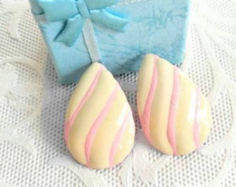 SALE-RETRO Vintage Teardrop Pink and Cream Pierced Earrings-Enameled-Striped- All Orders Only 99c Shipping!!