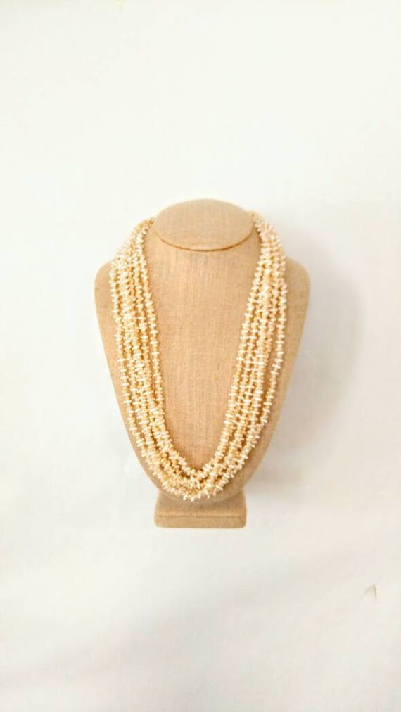 MULTI STRAND Vintage Faux Seed Pearl Necklace-Wear