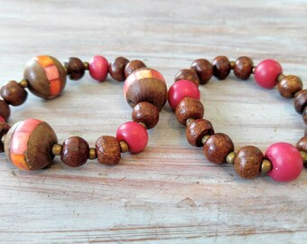VINTAGE Wood Bead Stretch Bracelets-Lot of 2-Brown, Fuchsia, Orange, Red, Mauve, Dark Stain-All Orders Only 99c Shipping!!