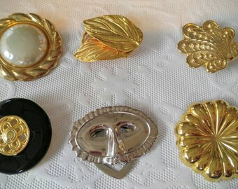 YOUR CHOICE Vintage Scarf/Sweater Clips-Gold, Silver, Mask, Pin, Brooch, Pearl, Black, Leaf-All Orders Only 99c Shipping!!