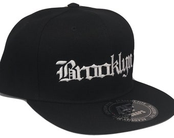 4fb3841aae2dd CUSTOM EMBROIDERED Cities or Names Old English Font Snapback Flat Bill  Black White Baseball Cap Caps Hat Hats