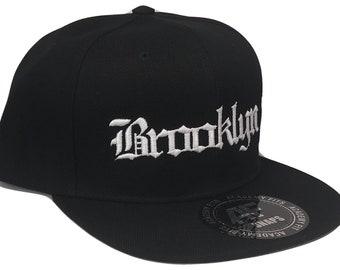 CUSTOM EMBROIDERED Cities or Names Old English Font Snapback Flat Bill  Black White Baseball Cap Caps Hat Hats b6cb105d2193