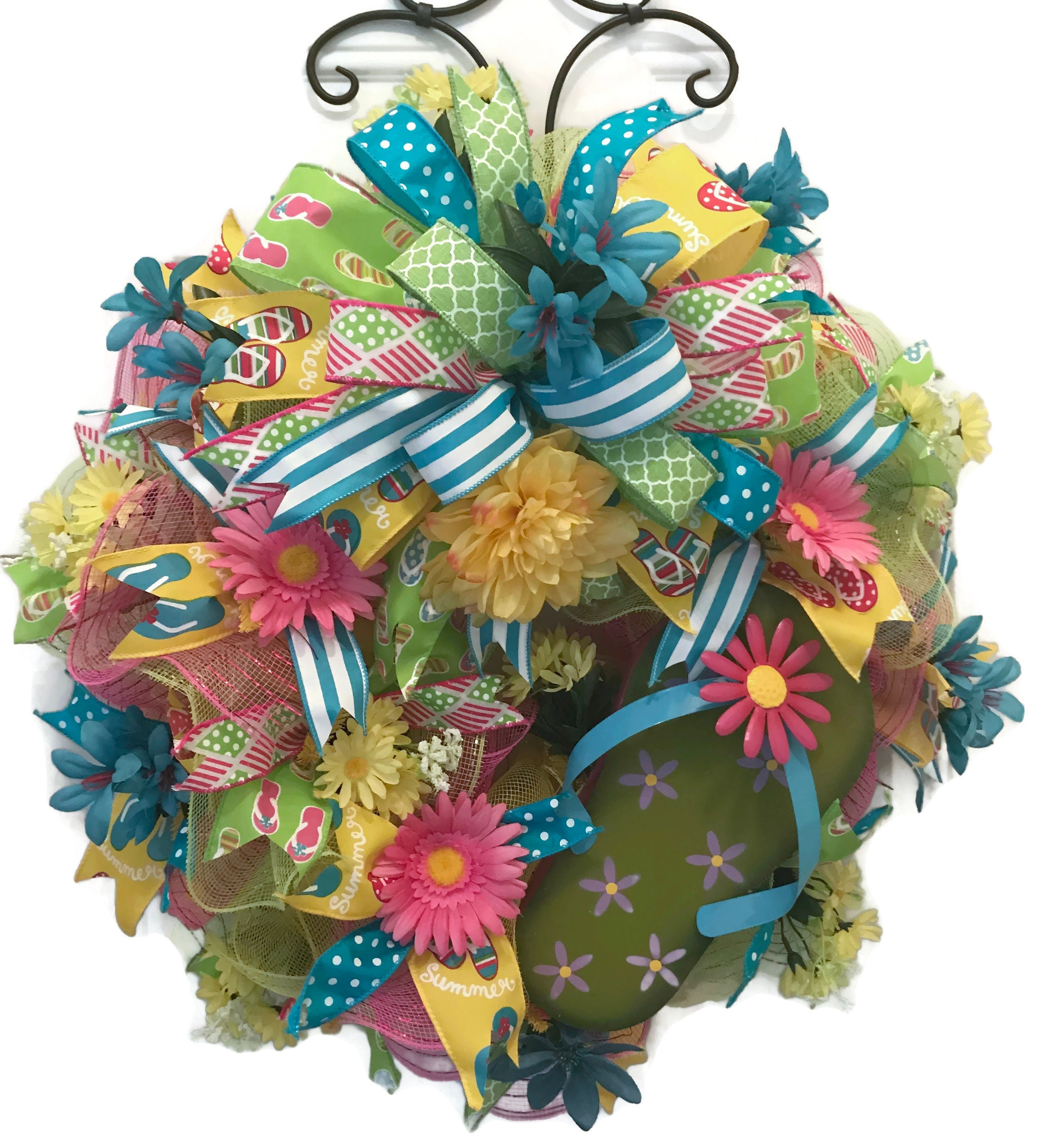 f8567fe8f Flip Flop Wreath Summer Mesh Wreath Fun Summer Mesh Wreath