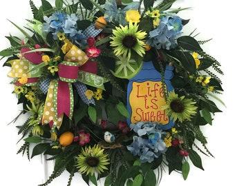 XL Spring Wreath, Spring Wreath, Spring Grapevine Wreath, Spring Everyday Wreath, Everyday Wreath, Lemon and Lime Wreath, Front Door Wreath