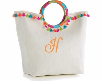 81f3e1cd2ae9 Monogrammed Fringed Beach Tote Bag