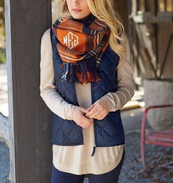 Monogrammed Plaid Blanket Scarf Navy and Orange Plaid