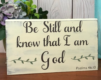 Be Still Christian Wall Hanging, Bible Scripture Wall Art, Scripture Wall Hanging, Destressed Wall Decor, Psalm 46:10, Christian Art Gift