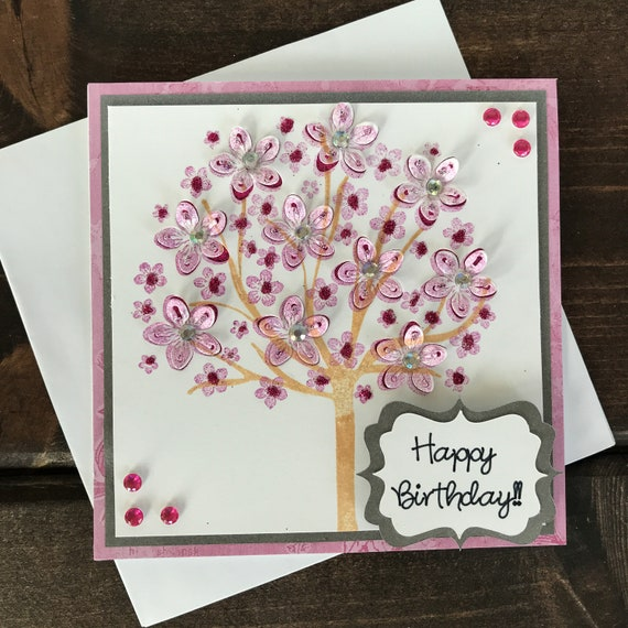 Admirable Beautiful Happy Birthday Card Handmade Card Card For Her Etsy Personalised Birthday Cards Veneteletsinfo