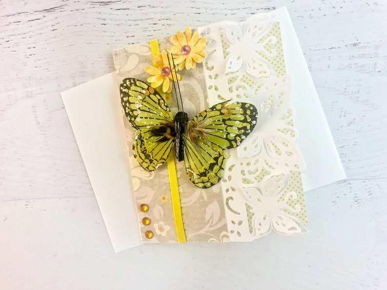 Butterfly Birthday Card Yellow Butterfly Card for Wife image 0